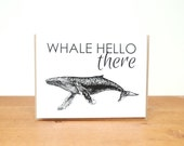 greeting card: whale hello there, thinking of you, just for fun, whale sea ocean card