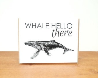 50% OFF SALE greeting card: whale hello there, thinking of you, just for fun, whale sea ocean card