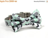 ON SALE Mint Green and Grey Chevron Dog Collar and Bow tie with Metal Buckle