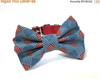 BIG Summer SALE Dog Bowtie Collar - Americana Flag Plaid