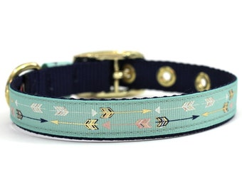 Cream, Navy, and Gold Arrow Print Dog Collar with Metal Buckle