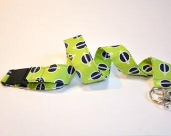 Fabric Lanyard  ID Badge Holder -  Teacher lanyard - Modern Fabric  blue and green - Breakaway safety clasp