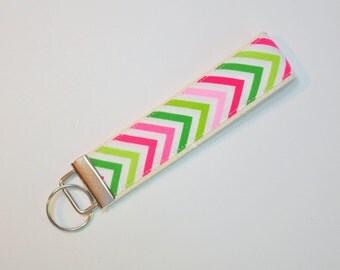 Key fob Keyfob zig no zag on bright christmas red pink light green wristlet  Key chain fabric lanyard