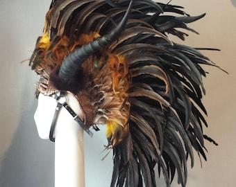 Horned Headdress in brown feathers and copper scales