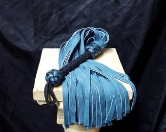 Teal Flogger with Nubuck Tails- Whip, Ren Fair, BDSM, Kinky