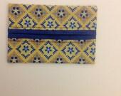 Yellow Blue Gold Print Fabric Tissue Holder Gift Idea Novelty Pocket Size Handmade