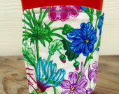 Botanical Flowers Pineapples Coffee Cozy Reversible Gift for Her