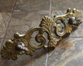 Vintage Ornate Drawer Pull Back Plate Escutcheon No Bail Craft Assemblage Mixed Media Altered Art Restoration Supplies