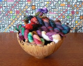 Handpainted Mini Skeins Fingering Weight Superwash Merino Nylon Stellina Sock Yarn- Mystery Sparkle 5 pack