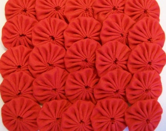 50 Solid Red 1 inch Miniature Yo Yos Applique Quilt Pieces Scrapbooking Embellishments