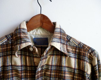 Vintage Pendleton Wool Brown Plaid Shirt Sz. S USA