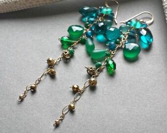 Teal Green Gemstone Dangle, Long Gemstone Cluster Earrings, Blue Green Cluster Dangle