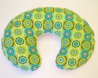 Reversible Boppy Nursing Pillow Cover: Green and Aqua Corduroy with White Soft n Fluffy