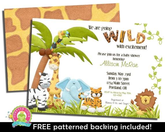 Jungle Baby Shower Invitation - Jungle Party Invite - Safari Baby Shower - Zoo Baby Shower - Baby Shower Invitations for Boys