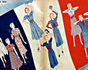 French Flag : French Vintage Fashion the dresses for the 14th of july published in Marie-Claire's magazine dated 1930's