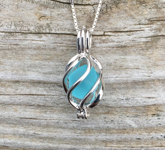Sea Glass Necklace Swirl Locket Caribbean Blue Sterling Silver Jewelry Aqua by Wave of LIfe