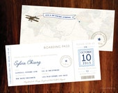 Travel Boarding pass Bridal Shower Invitations - digital file