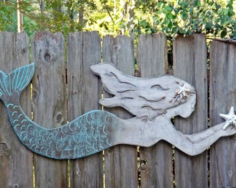 Mermaid Decor ~Wood Mermaid Wall Decor~Indoor ~Outdoor Mermaid Decor~Mermaid Wall Art~Mermaid Wall Decor~Mermaid Decor~Patina~Nautic