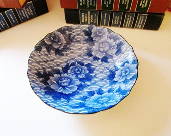 Vintage Takahashi Chinoiserie Blue and White Bowl, Blue and White Dish, Pin Dish, Palm Beach Decor