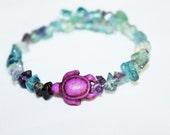 fluroite memory wire bracelet with purple howlite turtle bead, hippie, meditaion, music festivals, gypsy, bohemian