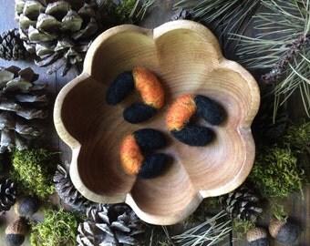 Felt Wooly Bear Caterpillars, set of 3, Pumpkin Orange, felted wool caterpillars, autumn home decor, autumn bowl filler, gifts for gardeners