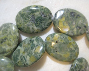 Conglomerate Jasper Beads,  Oval Semi-Precious Gemstone Beads,  30x22x5mm, 13 pcs.