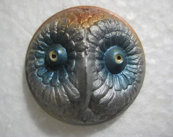 Vintage 1930s Owl Cabochon; Three Dimensional Hand Painted, Bronze Tone Pressed Glass Cabochon, Old Store Stock, Jewelry Supply 30mm, 1 Pc.