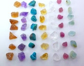 REIKI Rough Gemstone Set. Attuned Chakra Stones, Rainbow Colors. Healing Stones. Can Be Drilled. Gem 7 pc. 3 gm. 6 - 10 mm RML2