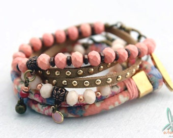 Mix & Match pink/brown - Bohemian chic, stacked set of 4 handmade bracelets in pink and brown