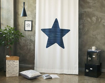 Navy Star Black Out Wide Fabric Panel for Curtains  (59 inches x 98 inches) 76441