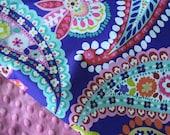 Baby Girl Blanket, Paisley Minky Blanket, Girl Crib blanket, Modern Colorful Blanket, Baby Girl Shower Gift