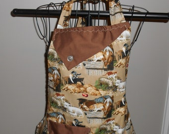 Horses, Puppies, Lambs and Kittens Women's Apron