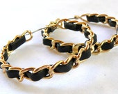Vintage Black and Gold Hoop Earrings