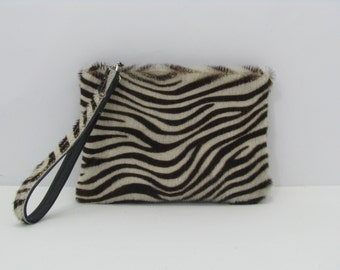 Clutch Bag / Wristlet / Cosmetic Bag / Hand Bag Cowhide Leather