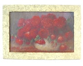Vintage Red Roses Painting, Floral Still Life … White Wood Frame, Amateur Painting, Canvas on Board, Shabby Chic Cottage, Purple Ground