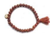 Bali Rudraksha bracelet with brown tassel
