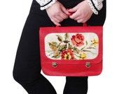 Sale Red backpack, Leather backpack, Red handbag, Needlepoint bag, Flower bag