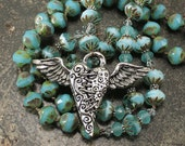 Winged Heart Jewelry Bohemian Valentine's Jewelry Silver Blue Turquoise Winged Heart Necklace Unique Valentine Gift For Her
