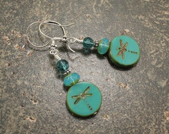 Turquoise Dragonfly Earrings Colorful Boho Dragonfly Jewelry