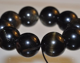 Listed @ 10% Off Sale Was 8.75--- 10 Beads 11mm Luminescent~GOLDEN SHEEN OBSIDIAN Large Round Beads - N1017