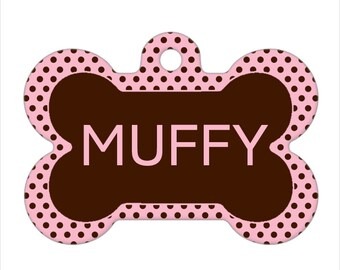 Personalized Pet ID Tag - Muffy Custom Name and Color Polka Dots Dog Bone Pet Tag, Dog Tag