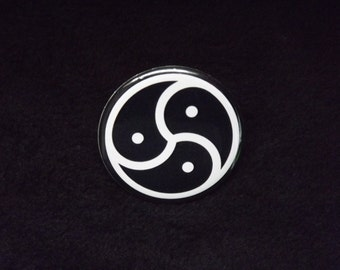 "BDSM Triskelion Pin Back Button 2.25"" Kink Triskele BDSM Emblem"