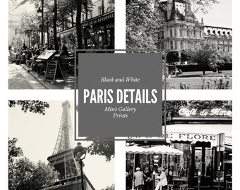 Paris Mini Gallery Prints - 5x5 Photos - Paris Photography - Black and White - French Wall Art Small Square Cafe Architecture Eiffel Tower