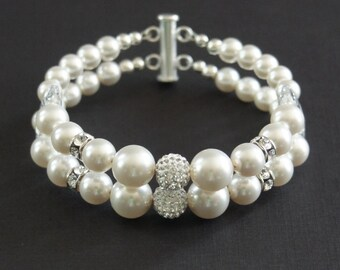 Swarovski Pearl Bracelet, Sterling Silver bracelet, Wedding Bracelet, 2-Strand, Swarovski Crystal Pave Bead, Birthday Gift, Bridesmaid Gift