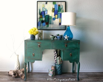 Back to School The Perfect Colour /  Green Antique Vanity in a Delicious Shade of Alexandrite / Vintage Hand Painted Desk