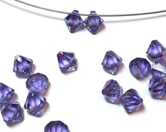 Swarovski Crystal Beads Tanzanite Top Drilled 6mm