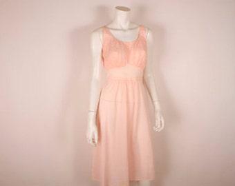 1950s Pink Nightgown -  Vintage Artemis  - 50s  Nylon Short Nightie