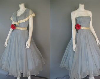 1950s Emma Domb Party Dress - Vintage 50s Blue and Ivory Prom Dress - XS