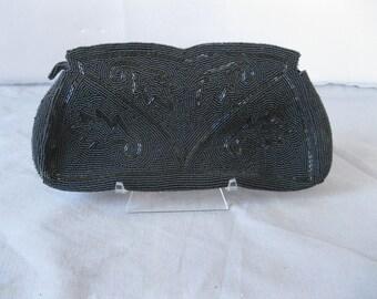 1950s Black Beaded Purse -  50s Vintage Clutch  Evening Handbag