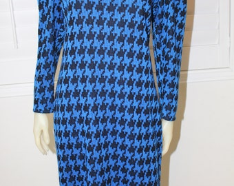 Vintage Blue Argyle Print 80's Midi Dress  M/L